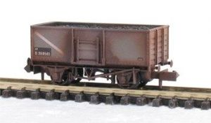Peco NR-44BW BR Butterley Steel Coal Wagon, Grey, Weathered
